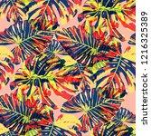 tropical leaves. seamless... | Shutterstock .eps vector #1216325389