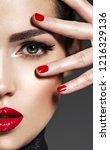 closeup portrait of beautiful... | Shutterstock . vector #1216329136