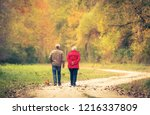 old couple walking in the... | Shutterstock . vector #1216337809