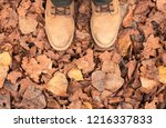 leather boots on the fallen... | Shutterstock . vector #1216337833