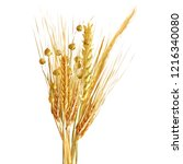 yellow ripe spikelets and... | Shutterstock .eps vector #1216340080