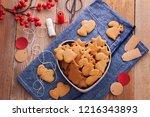 homemade christmas gingerbreads ...   Shutterstock . vector #1216343893