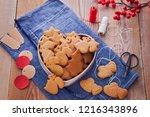 homemade christmas gingerbreads ...   Shutterstock . vector #1216343896