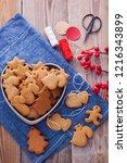 homemade christmas gingerbreads ...   Shutterstock . vector #1216343899