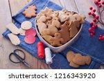 homemade christmas gingerbreads ...   Shutterstock . vector #1216343920