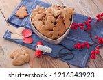 homemade christmas gingerbreads ...   Shutterstock . vector #1216343923