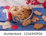 homemade christmas gingerbreads ...   Shutterstock . vector #1216343926