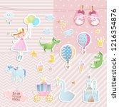 set of elements for baby shower ... | Shutterstock .eps vector #1216354876