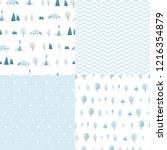 set of minimalistic seamless... | Shutterstock .eps vector #1216354879