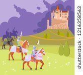 medieval scene with armored... | Shutterstock . vector #1216358563