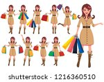 shopping woman cartoon... | Shutterstock .eps vector #1216360510