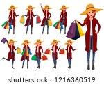 shopping woman vector... | Shutterstock .eps vector #1216360519