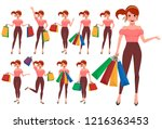 shopping woman vector character ... | Shutterstock .eps vector #1216363453