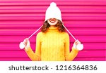 cool girl wearing a colorful... | Shutterstock . vector #1216364836