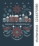 merry christmas greeting card   ... | Shutterstock .eps vector #1216370380