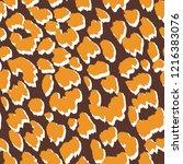jaguar skin seamless pattern.... | Shutterstock .eps vector #1216383076