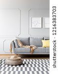 pouf on carpet in simple living ... | Shutterstock . vector #1216383703