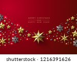 red christmas background with... | Shutterstock .eps vector #1216391626