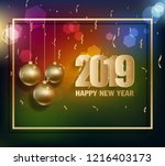 happy new year 2019  year of... | Shutterstock . vector #1216403173