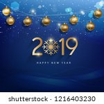 happy new year 2019  year of... | Shutterstock . vector #1216403230