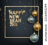 happy new year 2019  year of... | Shutterstock . vector #1216403299