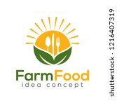 farm food concept logo design... | Shutterstock .eps vector #1216407319