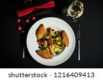 delicious salmon salad | Shutterstock . vector #1216409413