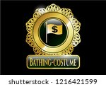 golden badge with flag with...   Shutterstock .eps vector #1216421599