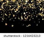 gold glowing confetti flying on ... | Shutterstock .eps vector #1216423213