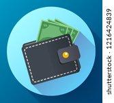 flat vector wallet and money... | Shutterstock .eps vector #1216424839
