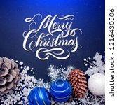 merry christmas hand lettering... | Shutterstock . vector #1216430506