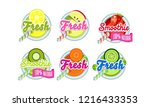 fresh smoothies logo set  lemon ... | Shutterstock .eps vector #1216433353