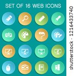 design web icons on colorful... | Shutterstock .eps vector #1216433740