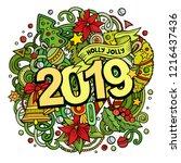 2019 hand drawn doodles... | Shutterstock .eps vector #1216437436