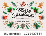 christmas greeting card with... | Shutterstock .eps vector #1216437559