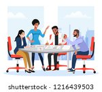 successful team gathering.... | Shutterstock .eps vector #1216439503