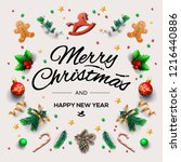 christmas postcard with... | Shutterstock .eps vector #1216440886