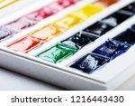 set of watercolor paints ... | Shutterstock . vector #1216443430