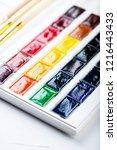 set of watercolor paints ... | Shutterstock . vector #1216443433
