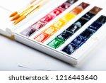 set of watercolor paints ... | Shutterstock . vector #1216443640