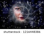 time  woman and numerology | Shutterstock . vector #1216448386
