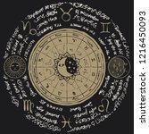 vector circle of the zodiac... | Shutterstock .eps vector #1216450093