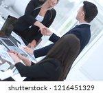 close up. handshake of... | Shutterstock . vector #1216451329