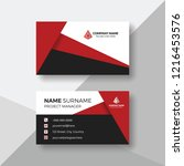 creative business card with red ... | Shutterstock .eps vector #1216453576