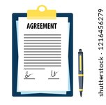 signed agreement with pen | Shutterstock .eps vector #1216456279