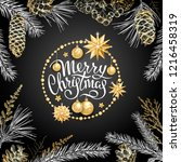 merry christmas card with...   Shutterstock .eps vector #1216458319