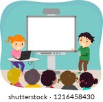 illustration of stickman kids... | Shutterstock .eps vector #1216458430
