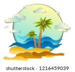 beach with palms  sea waves... | Shutterstock .eps vector #1216459039