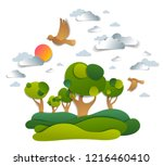 scenic landscape of meadows and ... | Shutterstock .eps vector #1216460410