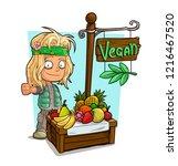 cartoon blonde hippie character ... | Shutterstock .eps vector #1216467520